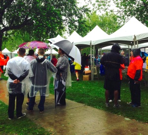 NSMC Cancer Walk 2015 Enthusiastic Wet Crowd