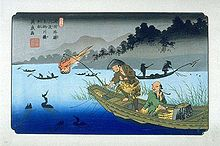 Keisai Elsen's print of Cormorant Fishing on the Nagara River, Japan