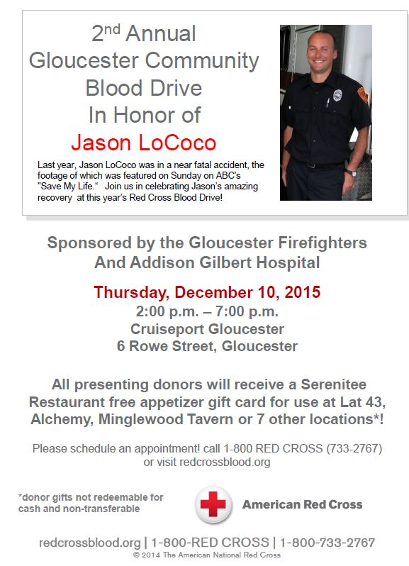 December Gloucester Community Blood Drive