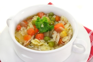 Chicken soup with noodles and vegetables