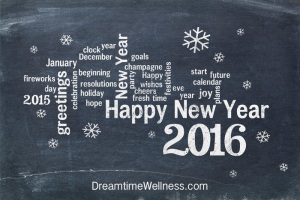 Happy New Year 2016 word cloud - white chalk text on a blackboard, a greeting card