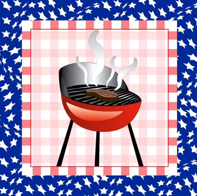 Vector Illustration for the 4th of July Independence bbq Square background.