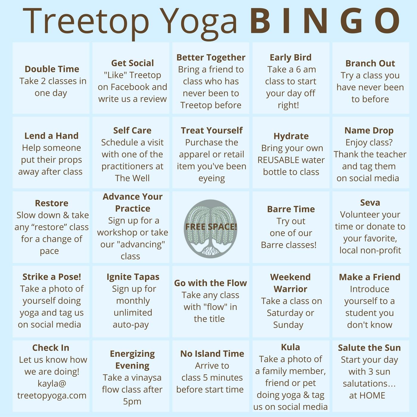 Treetop Yoga B-I-N-G-O – Cape Ann Wellness