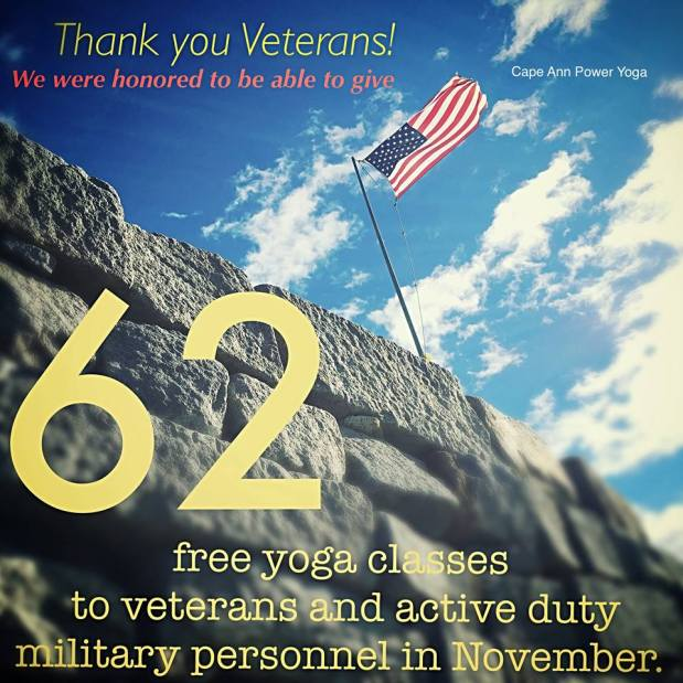 YOGA IS FREE FOR VETERANS IN NOVEMBER