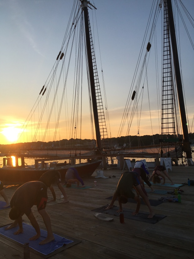 All Levels Yoga every weekend morning on the Gloucester Waterfront!