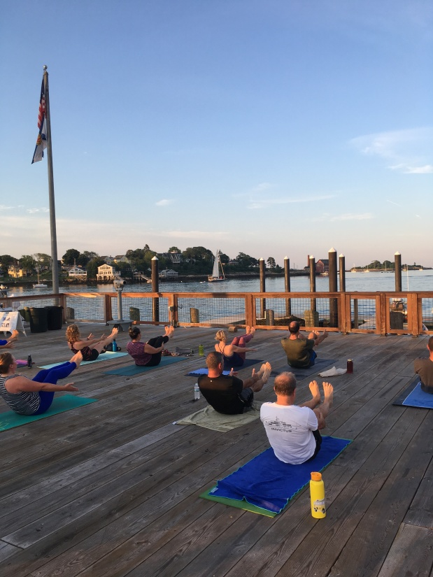 All Levels Yoga on the Gloucester Waterfront every Saturday and Sunday 8-9 AM